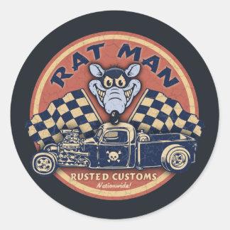 Rat Man Rusted Customs Round Sticker