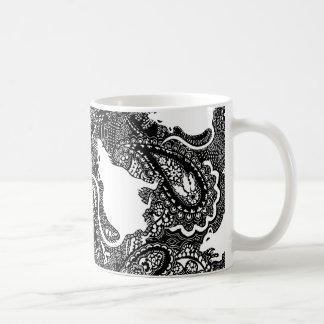 Rat mug with paisley pattern in black & white