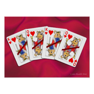 Rat Playing Cards on Satin Poster