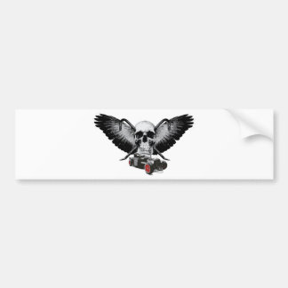 Rat Rod Skull & Crowbars Bumper Sticker