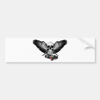 Rat Rod Skull & Crowbars Bumper Sticker