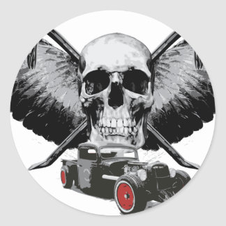 Rat Rod Skull & Crowbars Round Sticker
