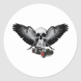 Rat Rod Skull & Crowbars Round Stickers