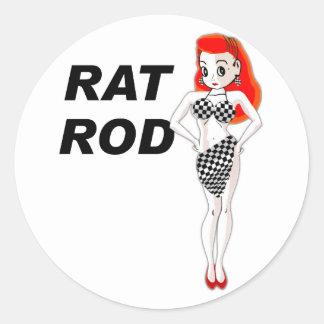 Rat Rod Round Sticker