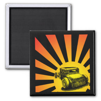 Rat Rod Sunset Magnet