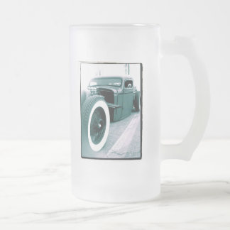 rat rod truck frosted glass mug