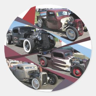 Rat Rod Trucks Round Sticker