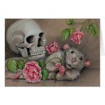 Rat Rose Skull Note Card
