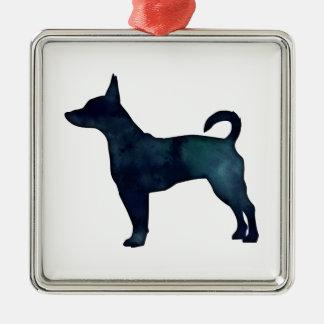 Rat Terrier Black Watercolor Silhouette Silver-Colored Square Decoration