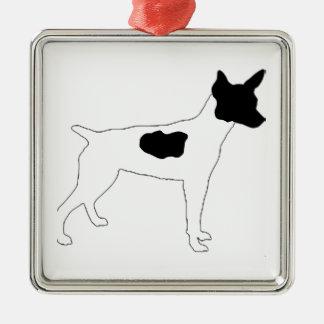 rat terrier color silhouette christmas ornament
