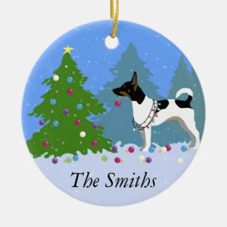 Rat Terrier Decorating a Christmas Tree in Forest Christmas Ornament