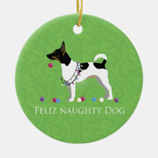 Rat Terrier Feliz Naughty Dog Christmas Christmas Ornament