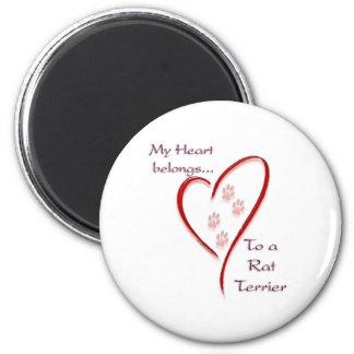 Rat Terrier Heart Belongs 6 Cm Round Magnet