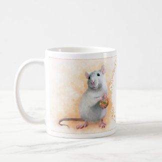 Rat with flowers coffee mug