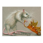 Rat with Leaf Fall Postcard