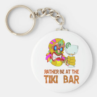 Rather be at the Tiki Bar TIKI Mask Basic Round Button Key Ring
