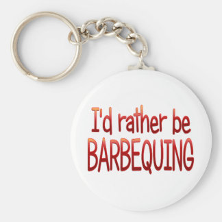 Rather be Barbequing Basic Round Button Key Ring