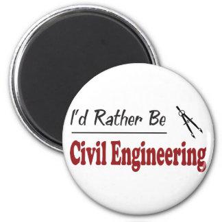 Rather Be Civil Engineering 6 Cm Round Magnet