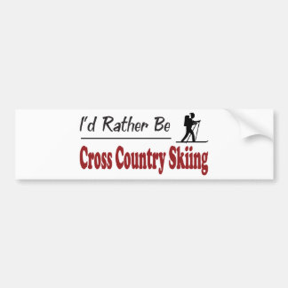 Rather Be Cross Country Skiing Bumper Sticker