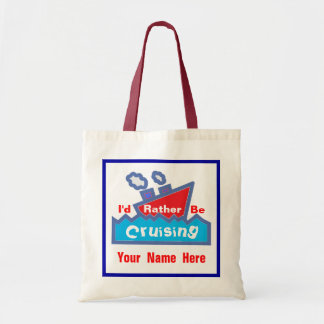 Rather Be Cruising Red and Blue Name Budget Tote Bag