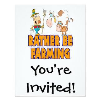 rather be farming cute cartoon farmer and cows 11 cm x 14 cm invitation card