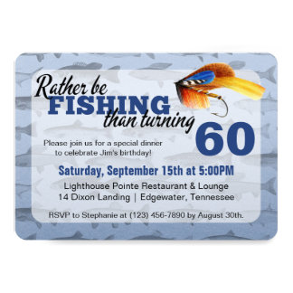 Rather Be Fishing Custom Birthday Party Invitation