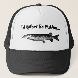 Rather Be Fishing with fish illustration Hat