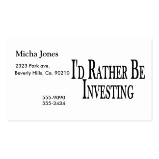 Rather Be Investing Double-Sided Standard Business Cards (Pack Of 100)