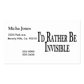 Rather Be Invisible Pack Of Standard Business Cards