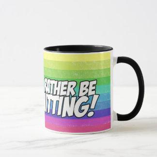 rather be knitting sheep mug