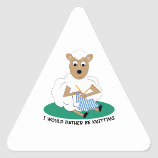 Rather Be Knitting Triangle Sticker