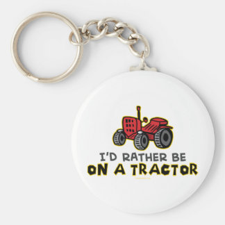 Rather Be On A Tractor Basic Round Button Key Ring