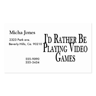Rather Be Playing Video Games Business Card