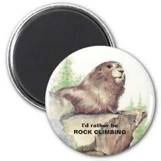 Rather be Rock Climbing Fun Quote Marmot Animal 6 Cm Round Magnet