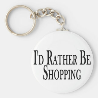 Rather Be Shopping Basic Round Button Key Ring