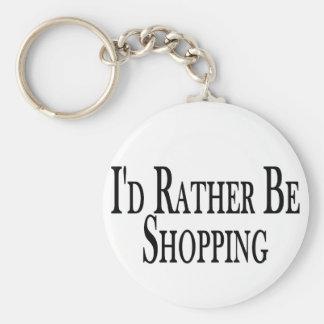 Rather Be Shopping Basic Round Button Key Ring