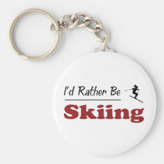 Rather Be Skiing Basic Round Button Key Ring