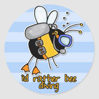 rather bee diving classic round sticker