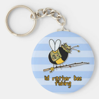 rather bee fishing basic round button key ring