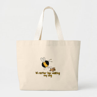 rather bee walking my dog canvas bags