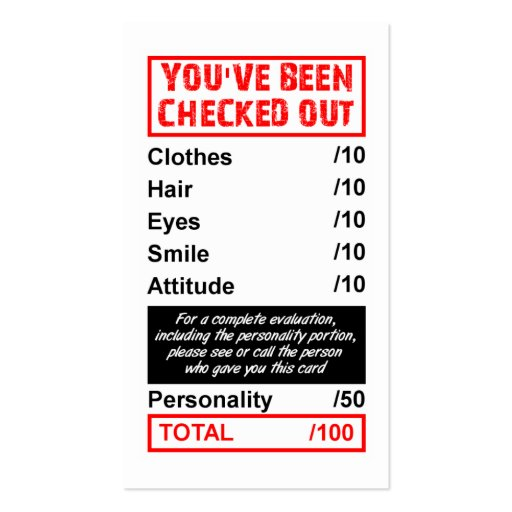 Rating Pick Up Card You've Been Checked Out Business Card Templates