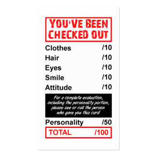 Rating Pick Up Card You've Been Checked Out Pack Of Standard Business Cards