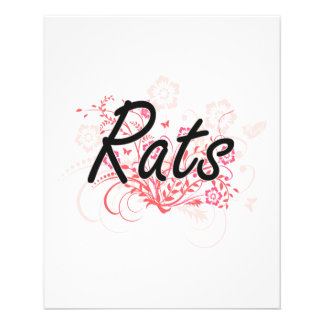 Rats with flowers background 11.5 cm x 14 cm flyer