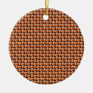 Rattan texture round ceramic decoration