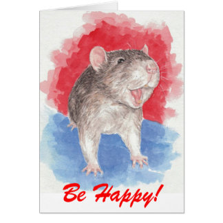 Rattie says Be Happy! Card