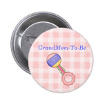 Rattle Baby Shower Grandmother Pin Button