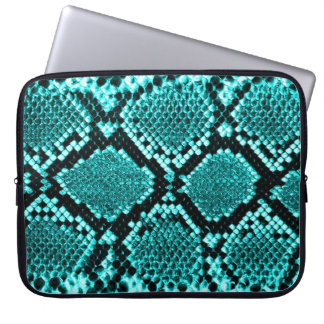 Rattlesnake Snake Skin Leather Faux blue Laptop Computer Sleeve
