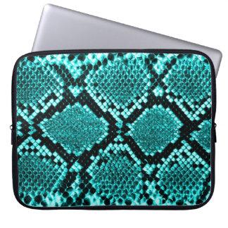 Rattlesnake Snake Skin Leather Faux blue Laptop Sleeve
