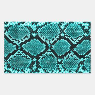 Rattlesnake Snake Skin Leather Faux blue Rectangular Sticker