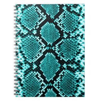Rattlesnake Snake Skin Leather Faux blue Spiral Notebook